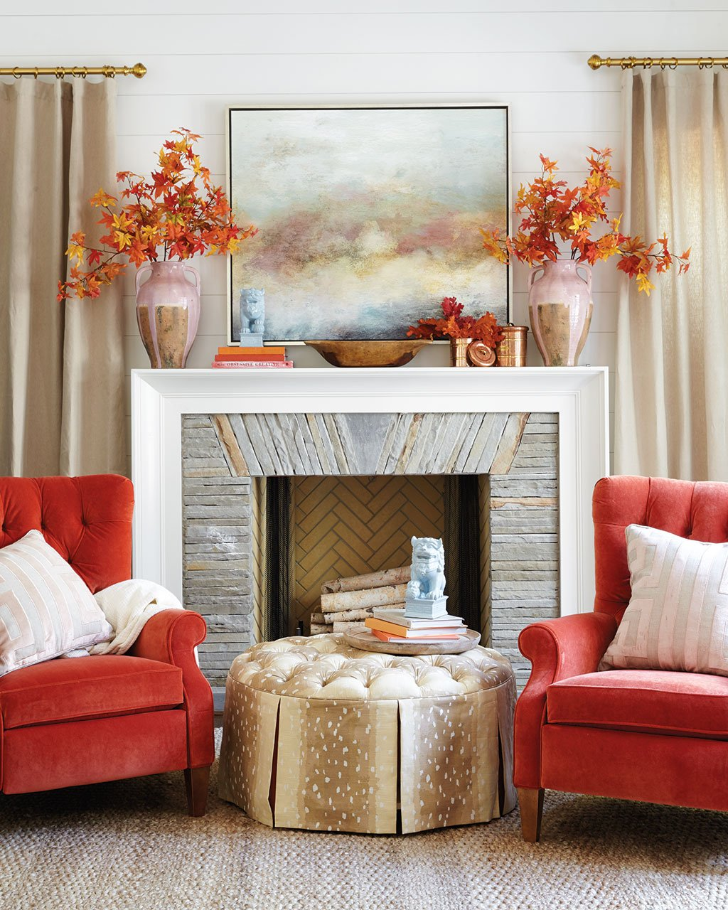 3 ways to decorate your mantel for fall how to decorate shop mayme vase collection braided jute rug queens velvet pumpkin fabric by the yard ballard designs hayes ottoman ballard designs in the air art