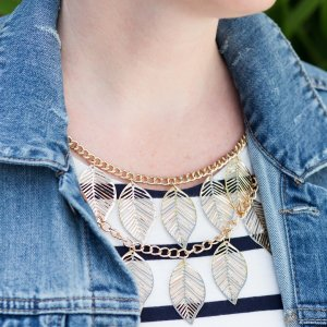 bc5780b6d6f9  jessica.connery s image of Gold Tone Multi Strand Leaf Necklace