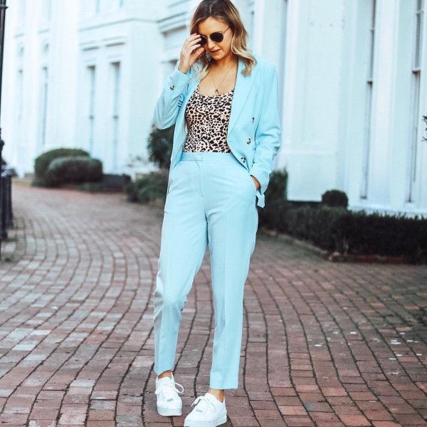 628df631d90 Powder blue suits and leopard print is all you need for a Tuesday. 🐆 -