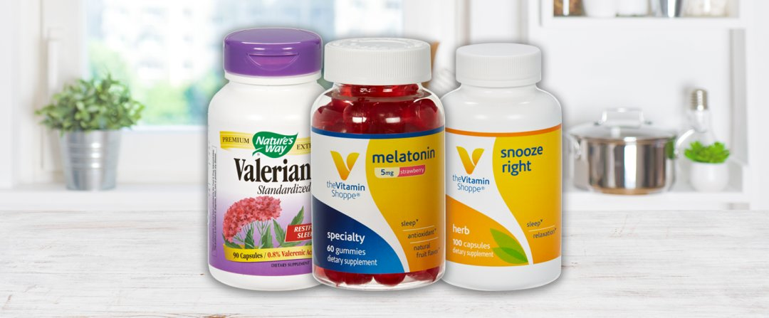 Shop Natures Way Valerian Extract (Standardized) - Restful Sleep (90 Capsules), the Vitamin Shoppe Melatonin for Sleep - Natural Strawberry Flavor - 5 MG (60 Gummies), the Vitamin Shoppe Snooze Right for Sleep & Relaxation (100 Capsules) and more