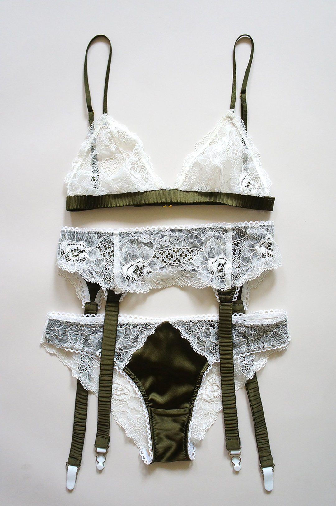 426172d6994ac Curated image with White lace and olive silk bralette from Elma Lingerie