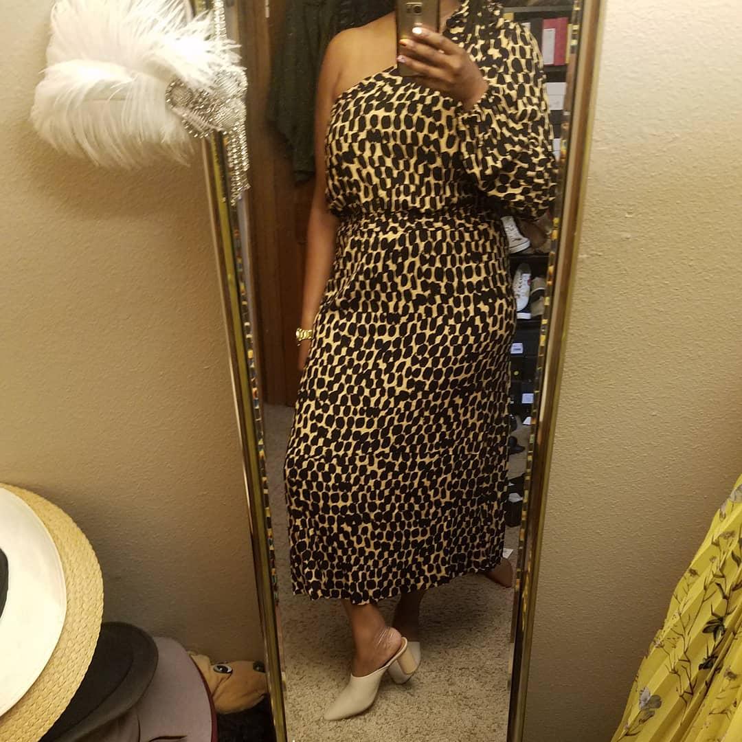 0d055b2218 Women s Leopard Print Long Sleeve One Shoulder Midi Dress - Who What ...