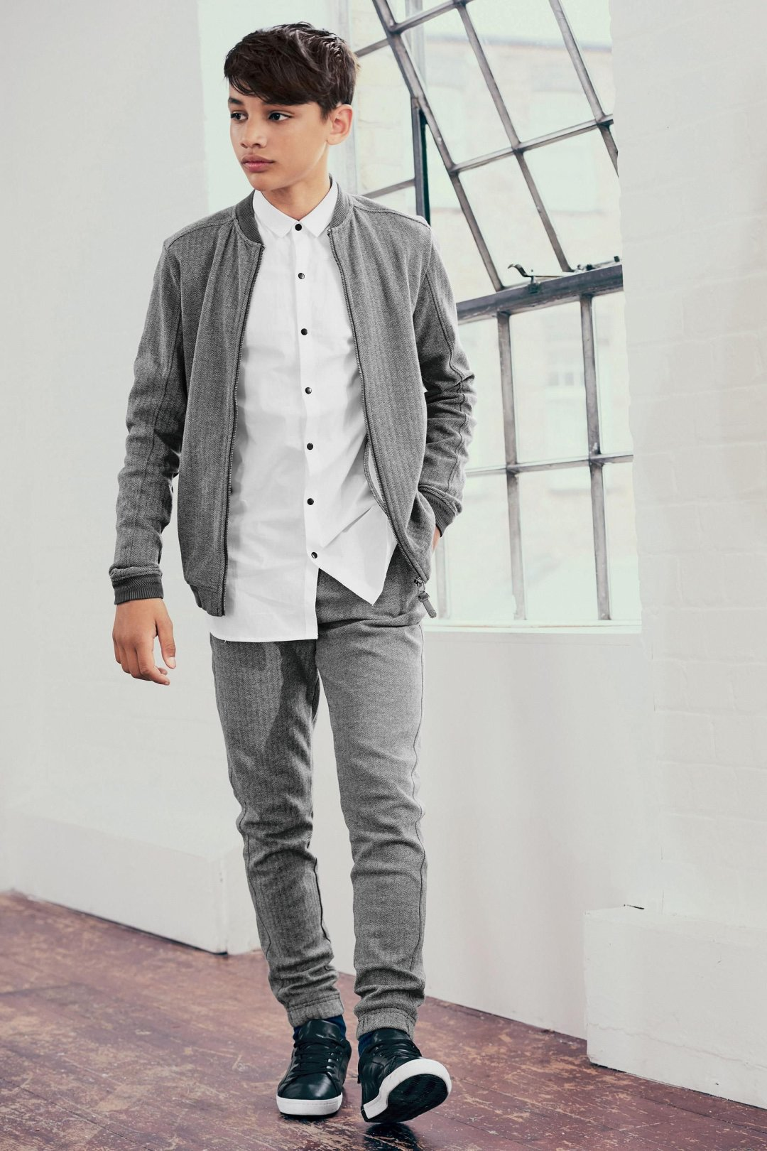 Boys grey bomber, white shirt and smart jogger combo