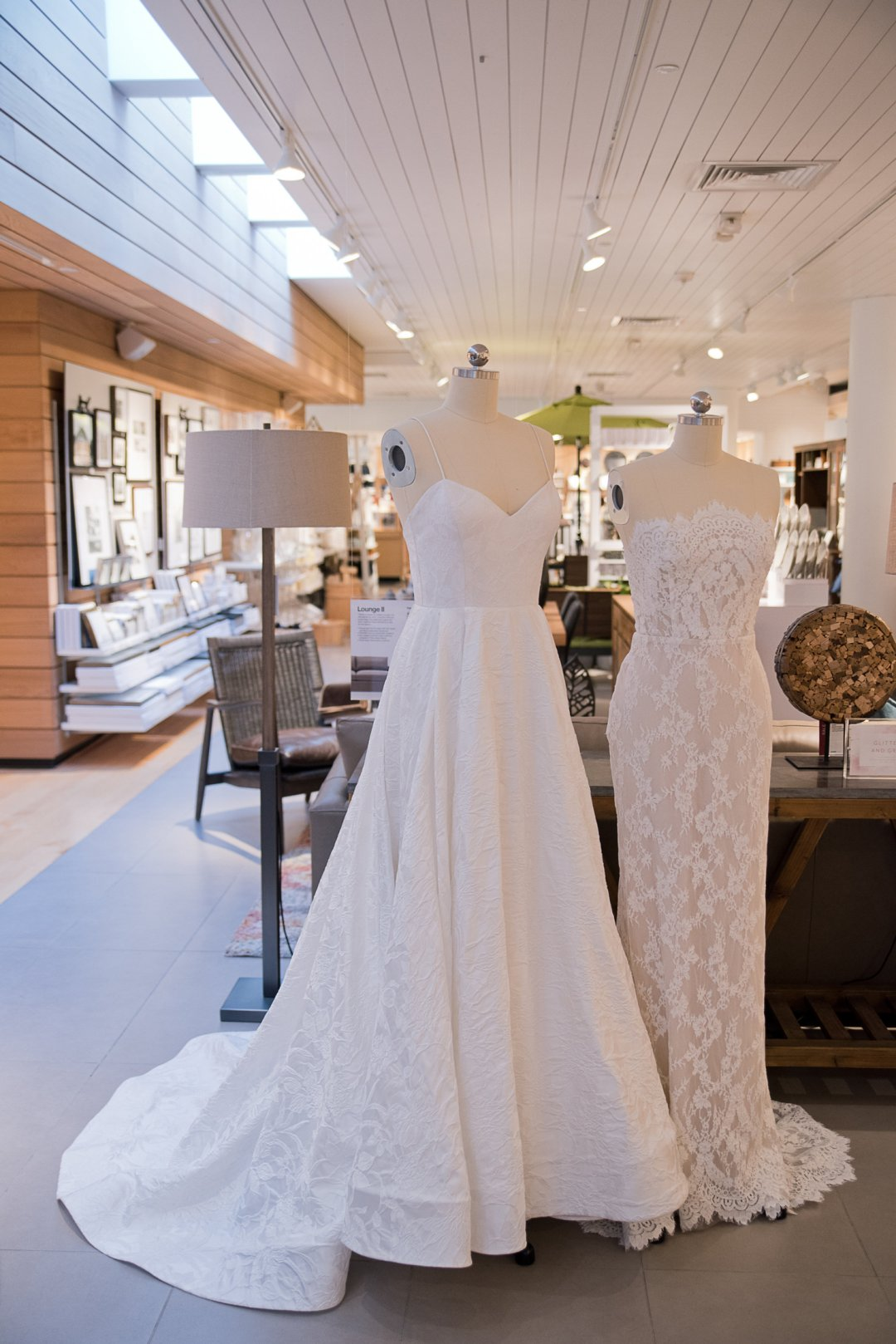 White wedding dressed on display at Crate and Barrel Private Registry Event