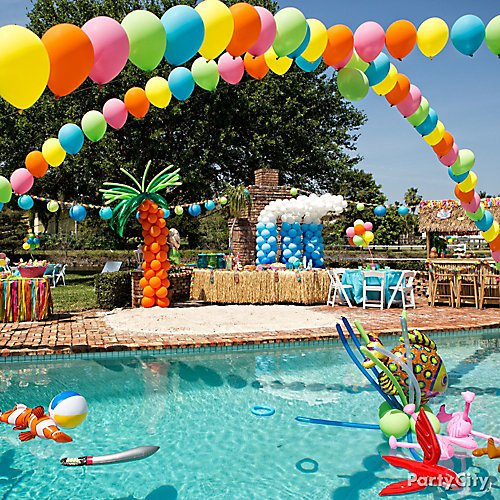 Curated Image With Assorted Color Balloons 72ct Natural Grass Table Skirt Inflatable Pirate Swo