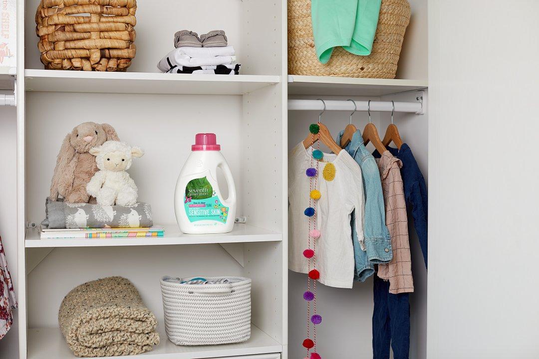 baby laundry bottle on closet shelf