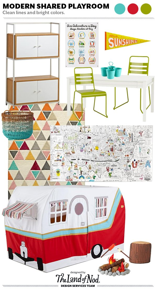Shared space playroom design tips essentials honest Land of nod playroom ideas
