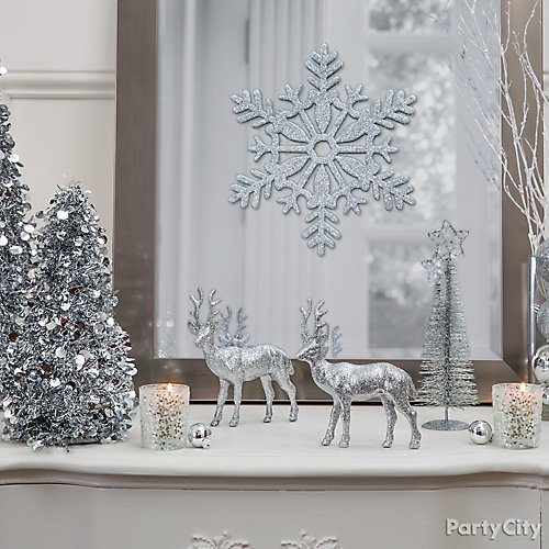 curated image with silver christmas table decorating kit glitter silver snowflake glitter silve - Winter Wonderland Christmas Decorations
