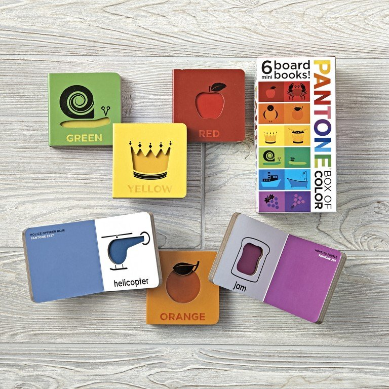 A box set of Pantone baby board books for learning colors