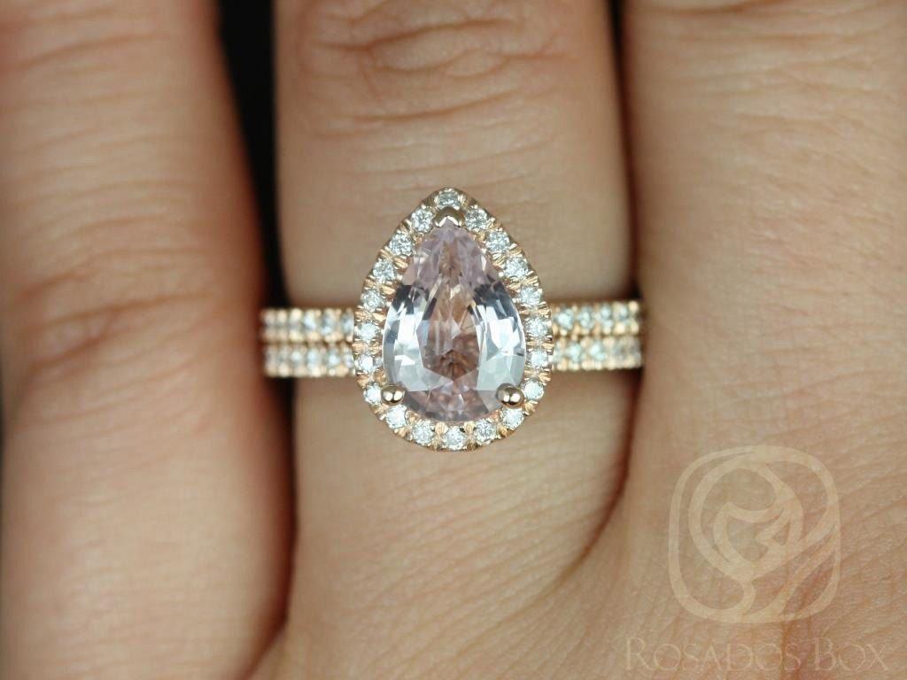 Icy Blush Sapphire Toni Wedding Set on Hand
