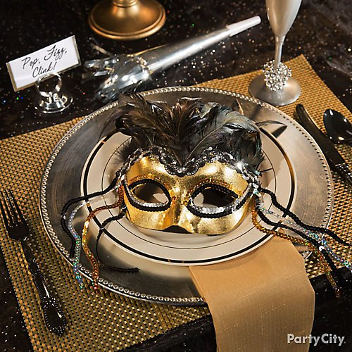 mask party new year themes 08 curated image with warrior goddess feather masquerade mask gold plastic charger