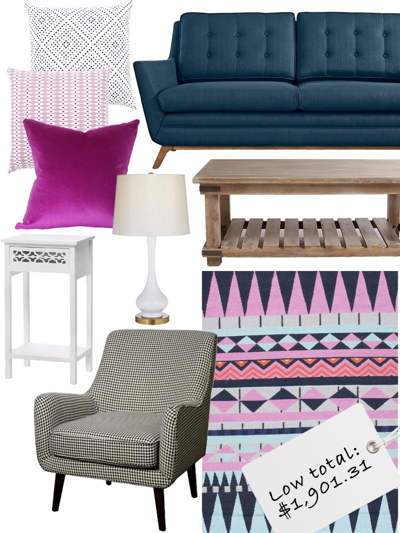 Shop Didot Pillow Navy, Synchronicity Fabric Loveseat, Cameron Coffee Table, nuLOOM Southwestern Flatweave Wool Multi Rug (5' x 8') | Overstock.com Shopping - The Best Deals on 5x8 - 6x9 Rugs, Zoe Houndstooth Fabric Arm Chair, White/Black, Wholesale White Floral Diecut Wooden Side Table Home Decor, Lula White and Brass Gourd Table Lamp, Orchid Dark Magenta Purple Velvet Pillow Cover - Made-to-Order, Geode Pillow Mauve and more