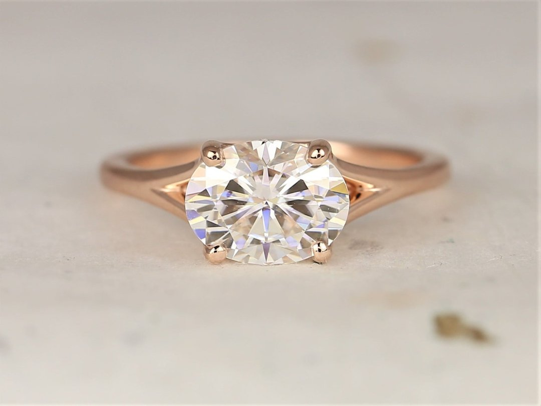 Margo Wide Oval Engagement Ring Laid Down