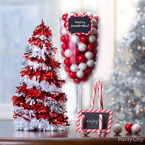 curated image with 3d candy cane tinsel christmas tree giant clear plastic wine glass