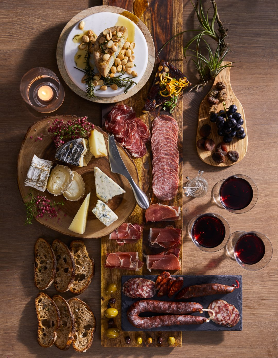 Selection of cheese and charcuterie boards