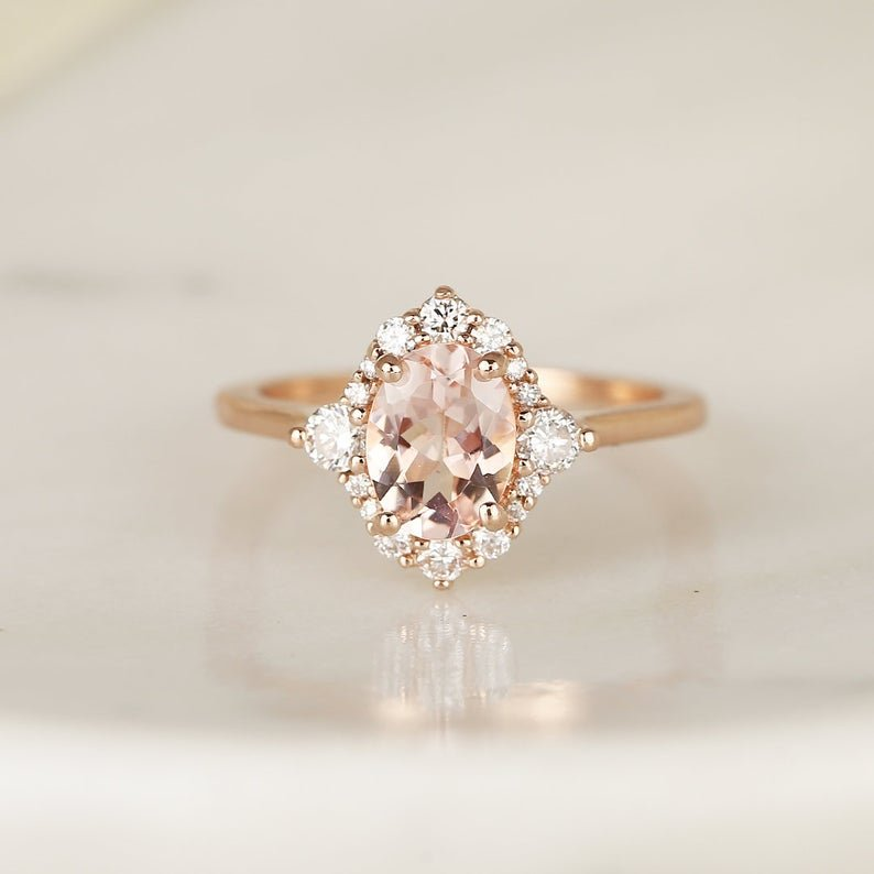 Nola Oval Engagement Ring Embroidered with Diamonds