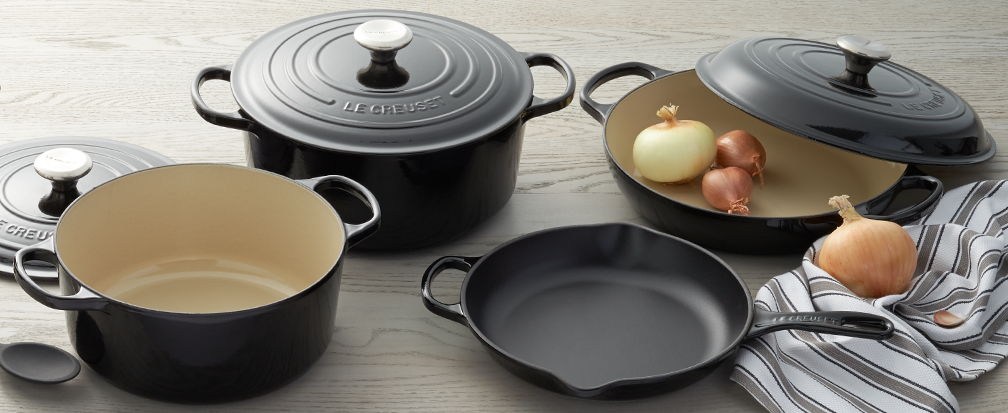 Le Creuset black french ovens and cookware