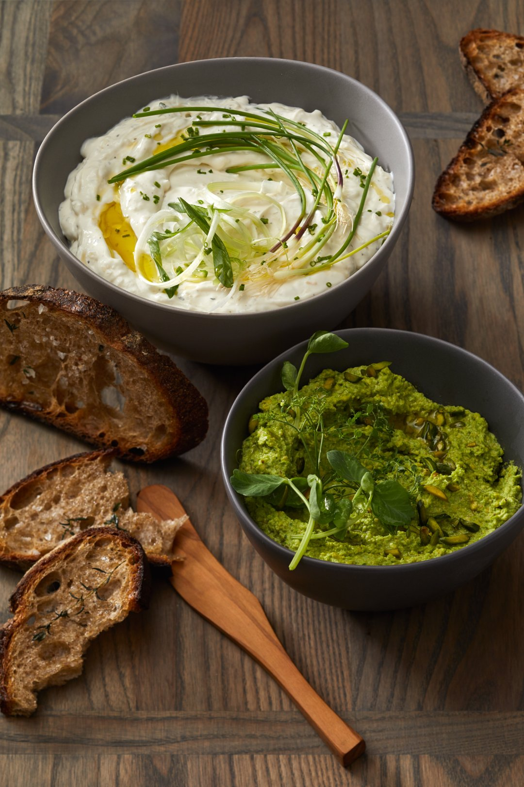 Selection of dips for a vegetable crudite board