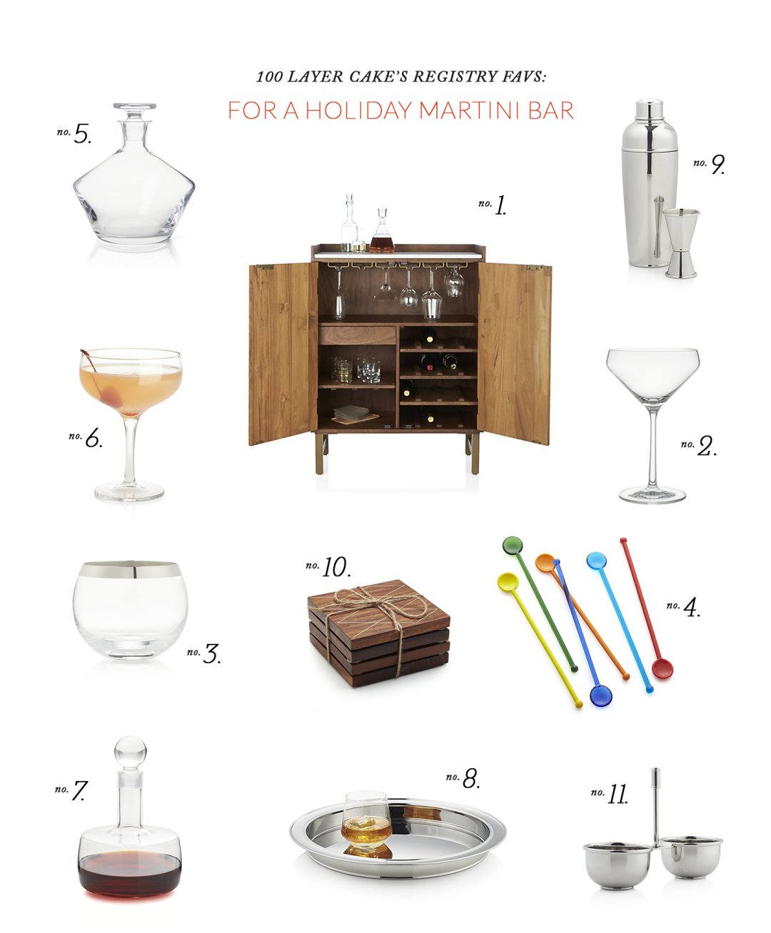 martini bar and accessories to make martinis spread out on a white page and numbered from 1 to 11
