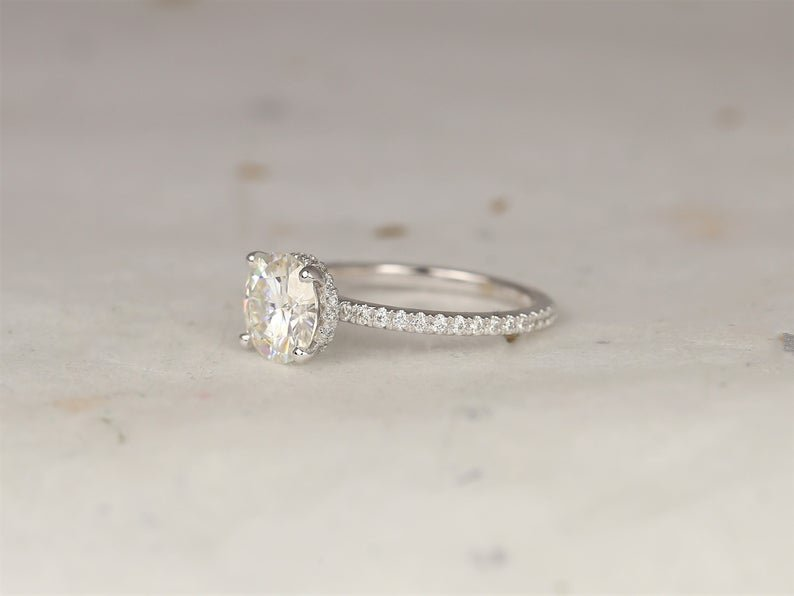 side view of engagement pave ring with moissanite diamond
