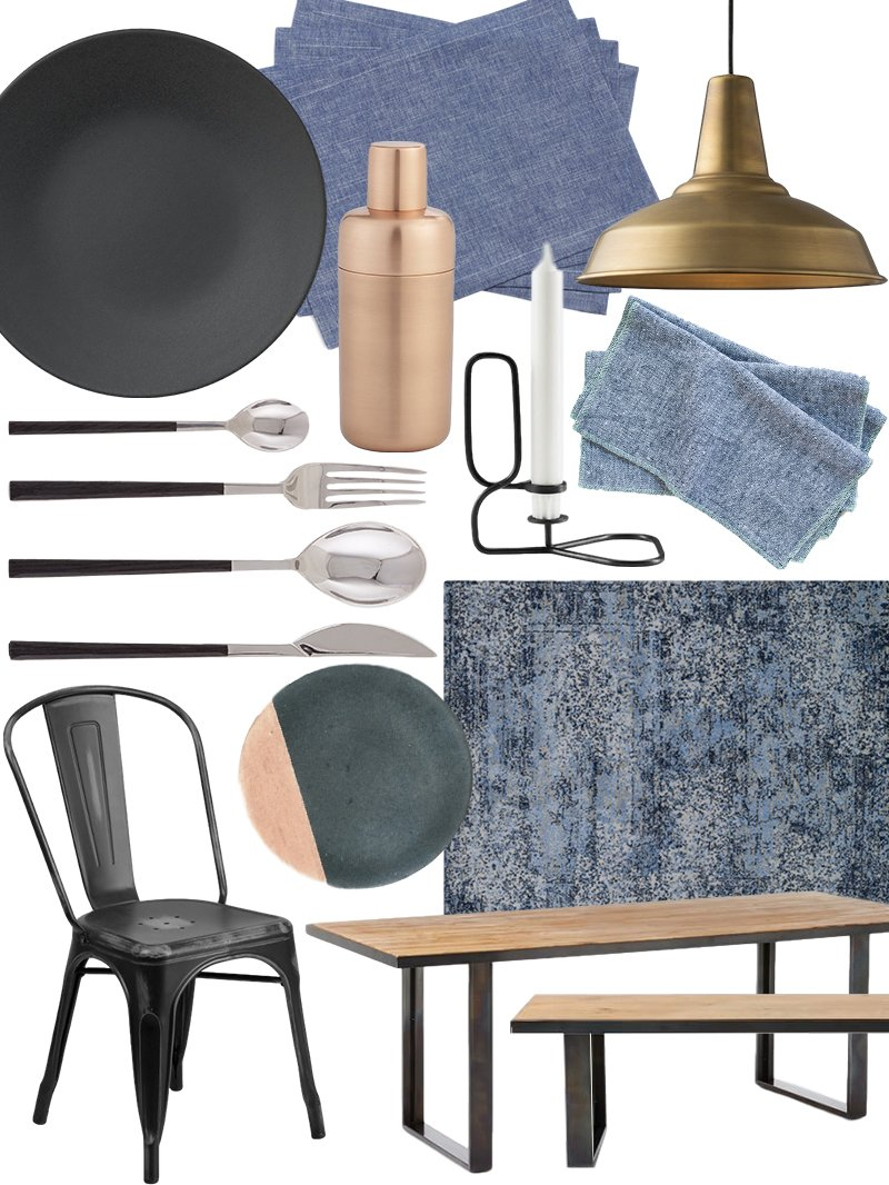 create the look: warm industrial dining room shopping guide