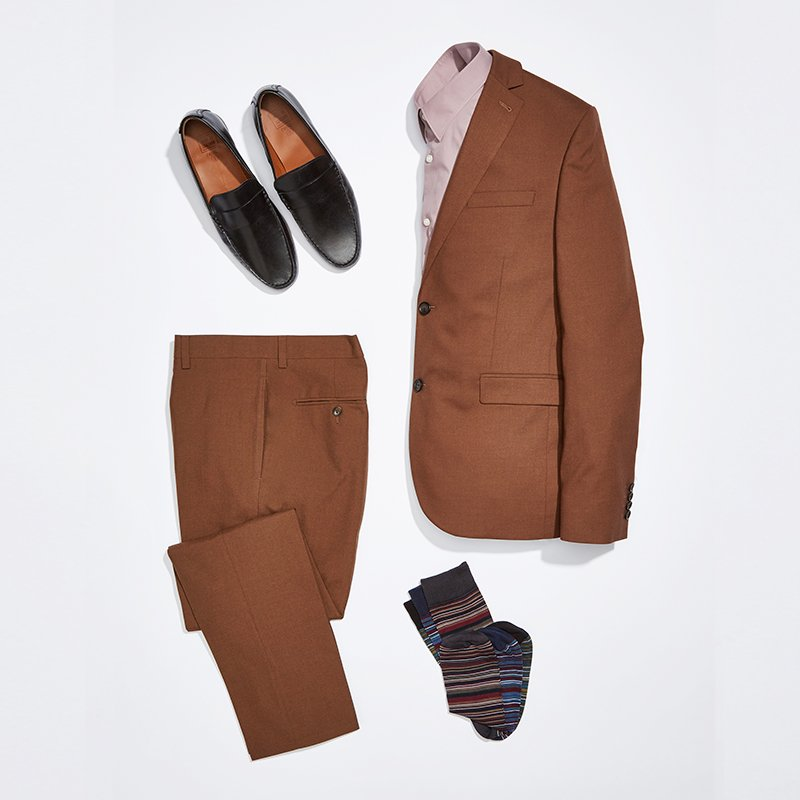 Rust suiting and loafers