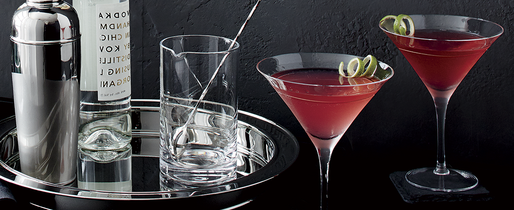 Sophisticated stainless steel barware and martini glasses