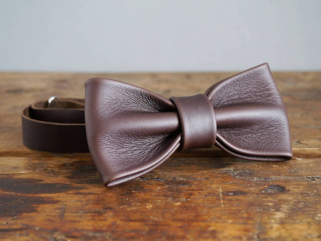 Leather bow tie from Kingsley Leather