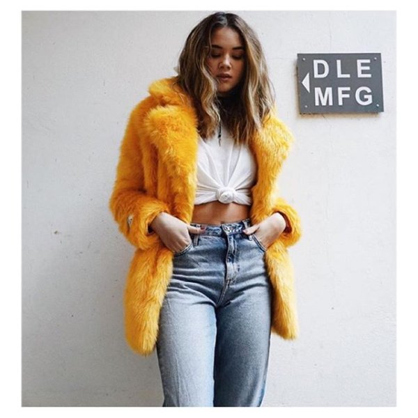 b262a1ad5 This chick 🐤 in our HEATHER mustard ✌️💛 #regram @maya_nilsen We are #.  Love this image of our heather faux fur coat ...