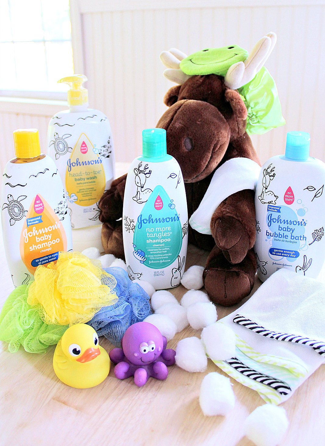 Baby items for gift basket.