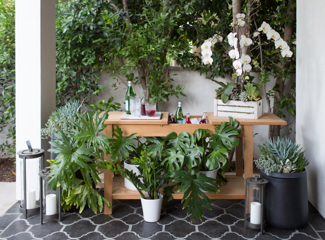 Botanical-covered wood bar on outdoor patio