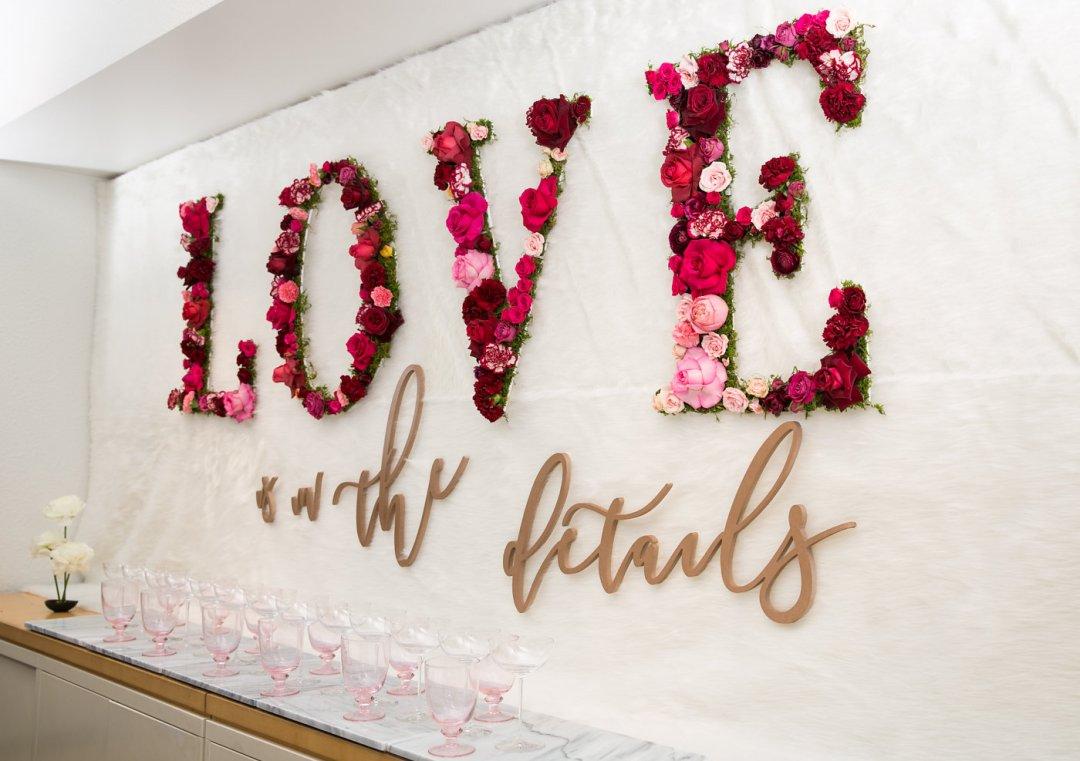 Floral sign spells love