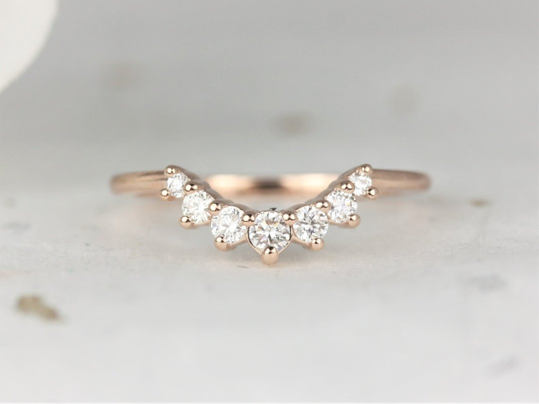 minimalist rose gold curved nesting ring with diamonds