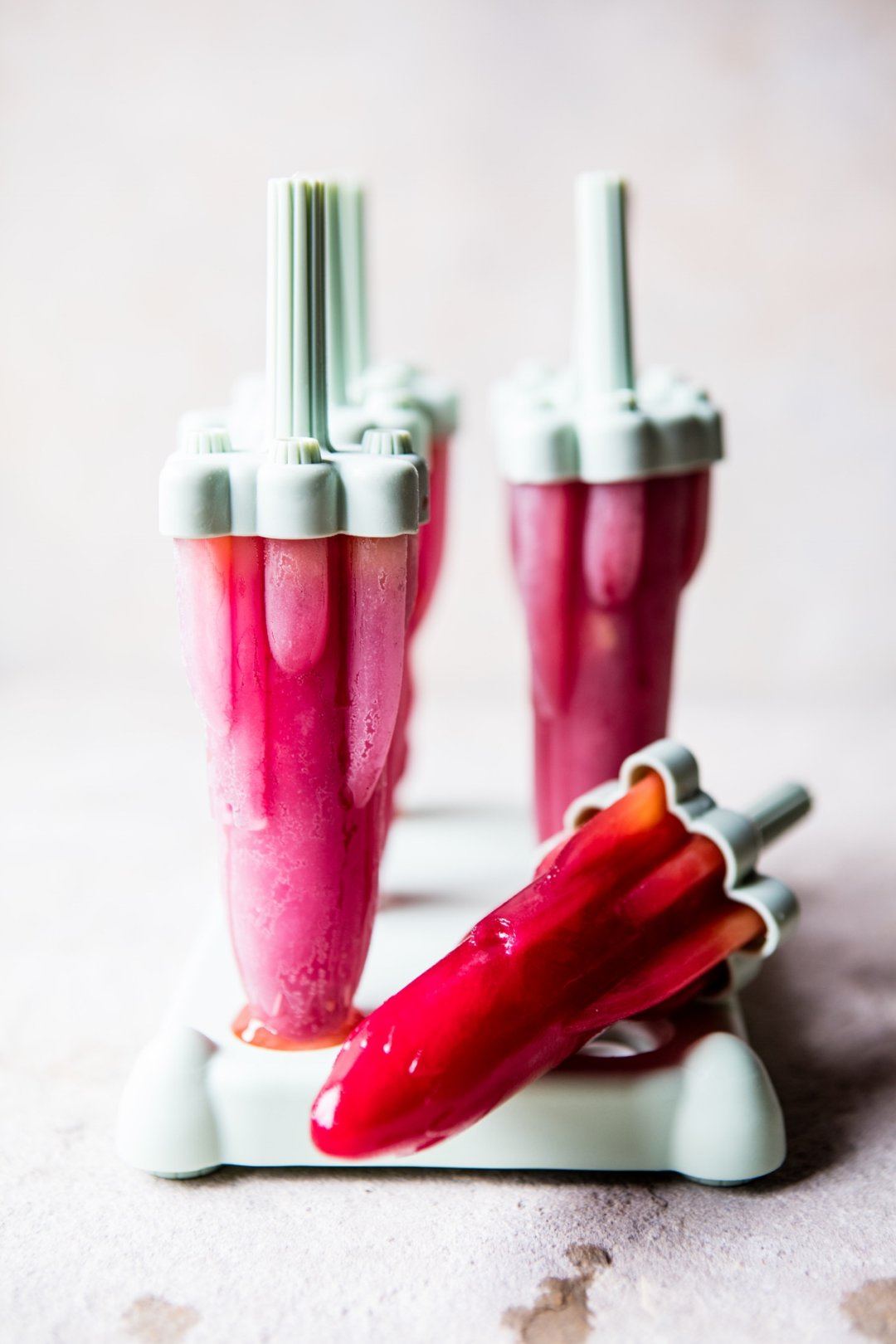 Red popsicles in popsicle molds