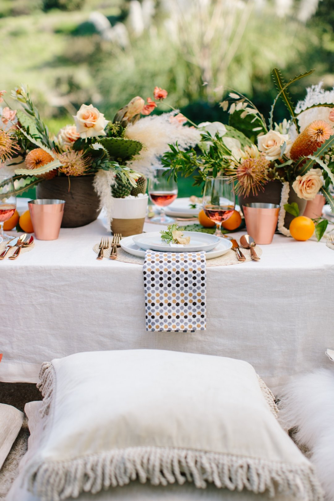 One place at table setting with pillow below
