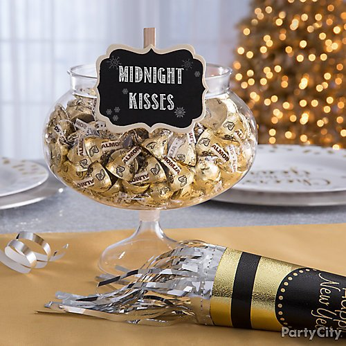 shop milk chocolate almond hersheys kisses 115ct clear plastic pedestal bowl scroll chalkboard label clips 8ct black gold fringe happy new year party