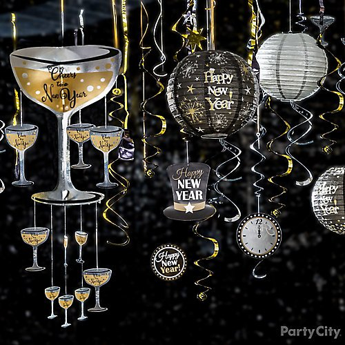 curated image with black gold silver happy new years swirl decorations 12ct sparkling new