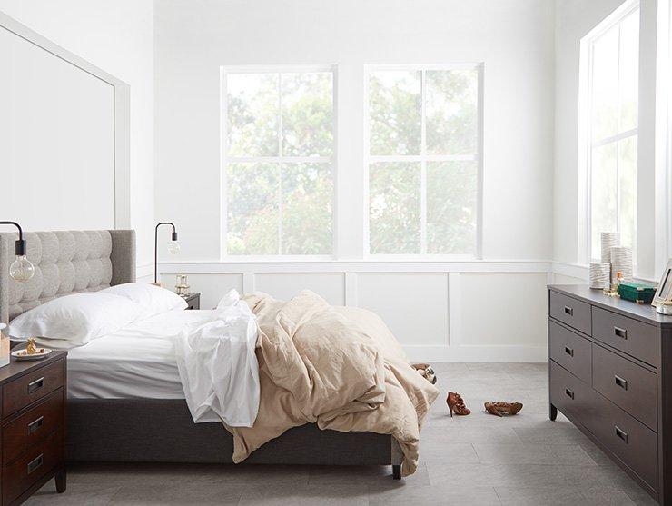 Shop Chatham Pewter Low Platform Bed, Chatham Dark Tone Dresser, Chatham Dark Tone Nightstand and more