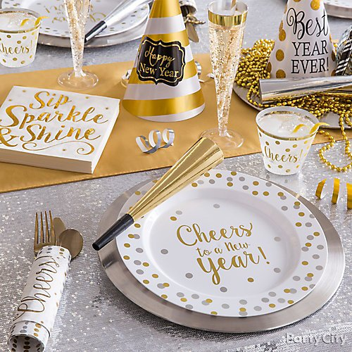 curated image with silver plastic cutlery set 32ct bubbly celebration beverage napkins 16ct