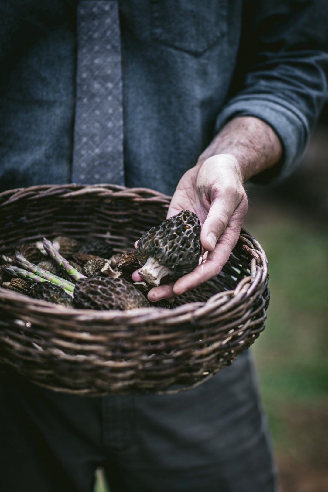 Man holding mushrooms in a basket