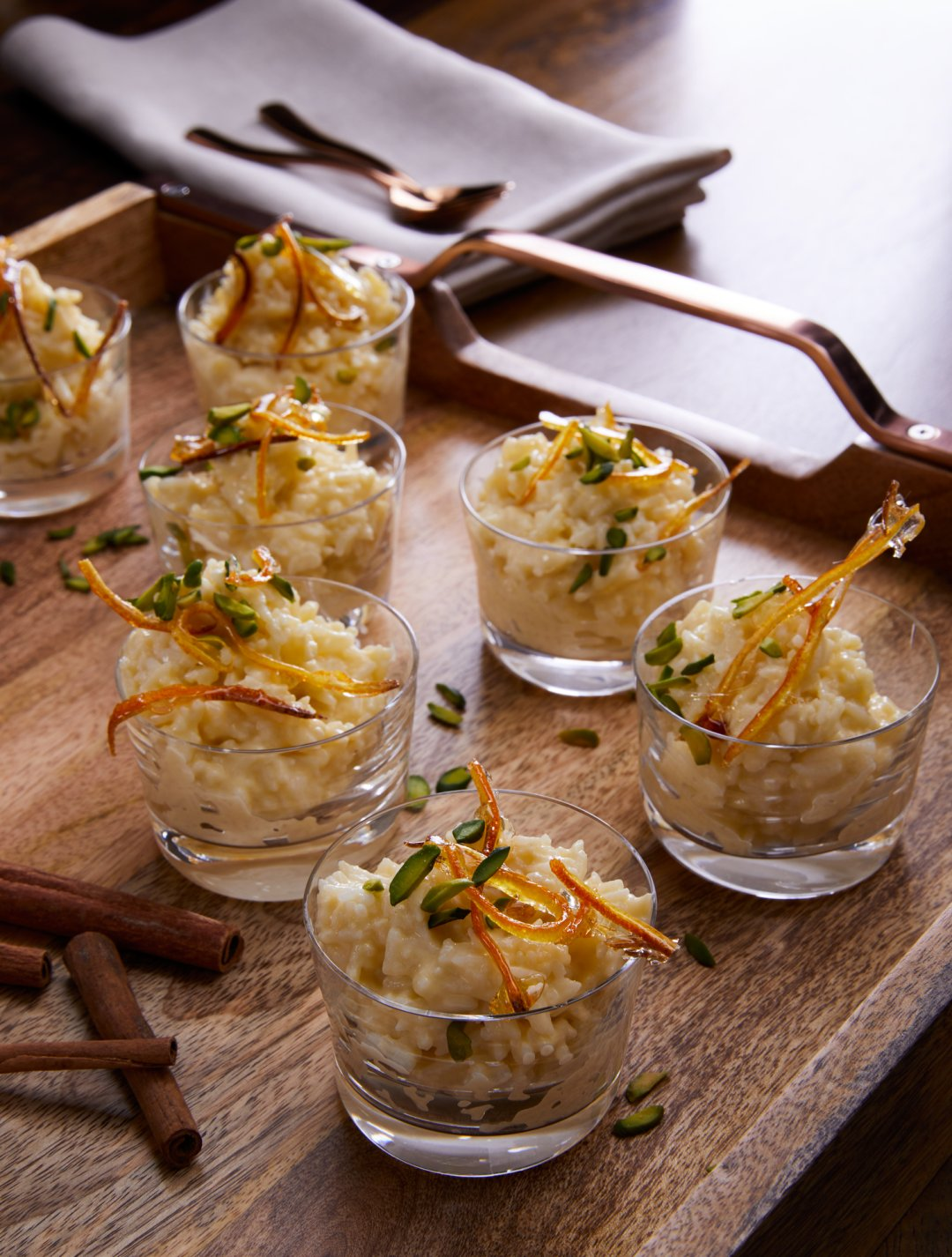 Basmati Rice Budding served up in small glass bowls on a serving tray