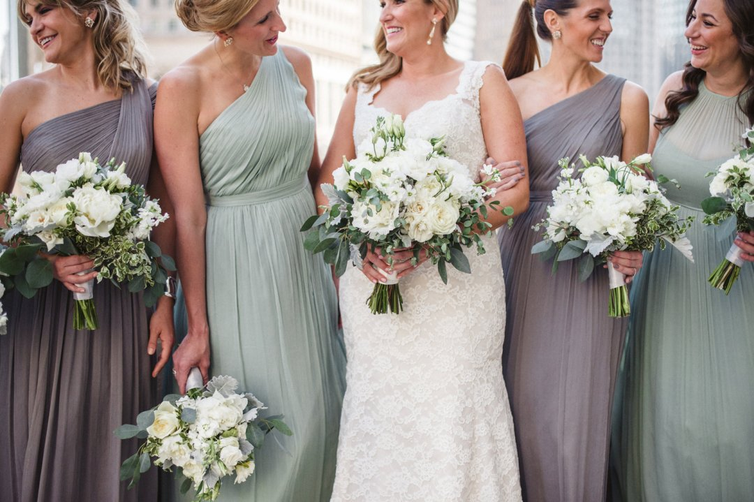 Bride and bridesmaids closeup in dresses