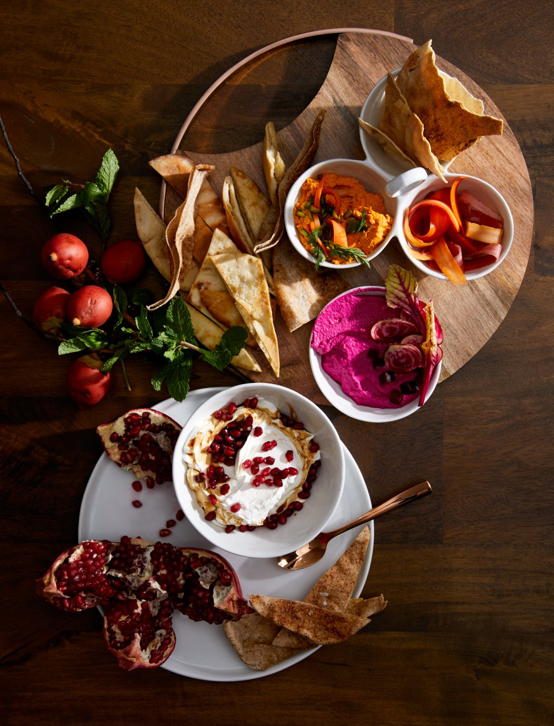 Mezze dips on serving platters