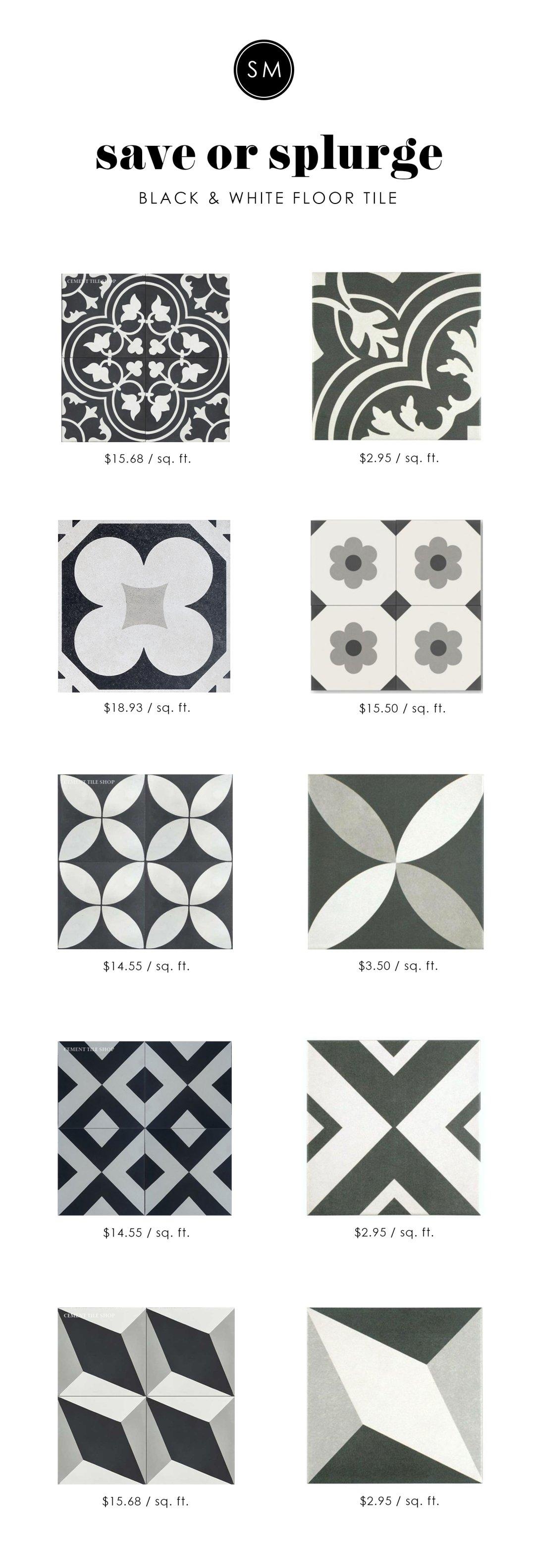 Save or splurge black white floor tile studio mcgee 1 of 10 dailygadgetfo Choice Image