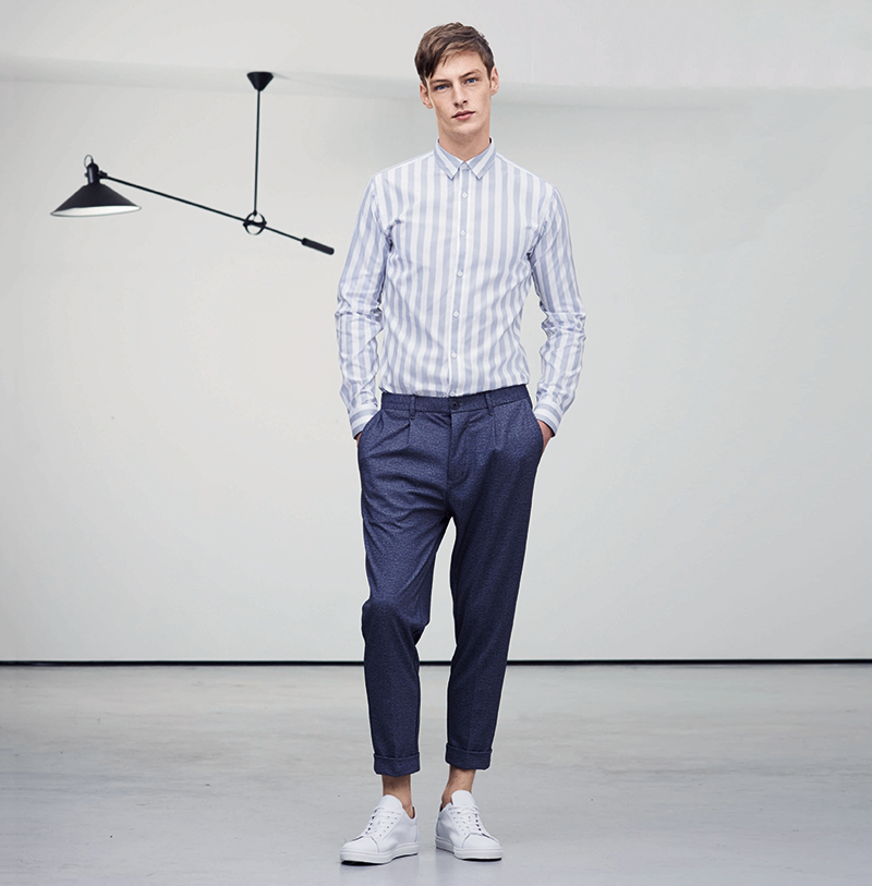Tonal stripes and smart trousers from Selected Homme