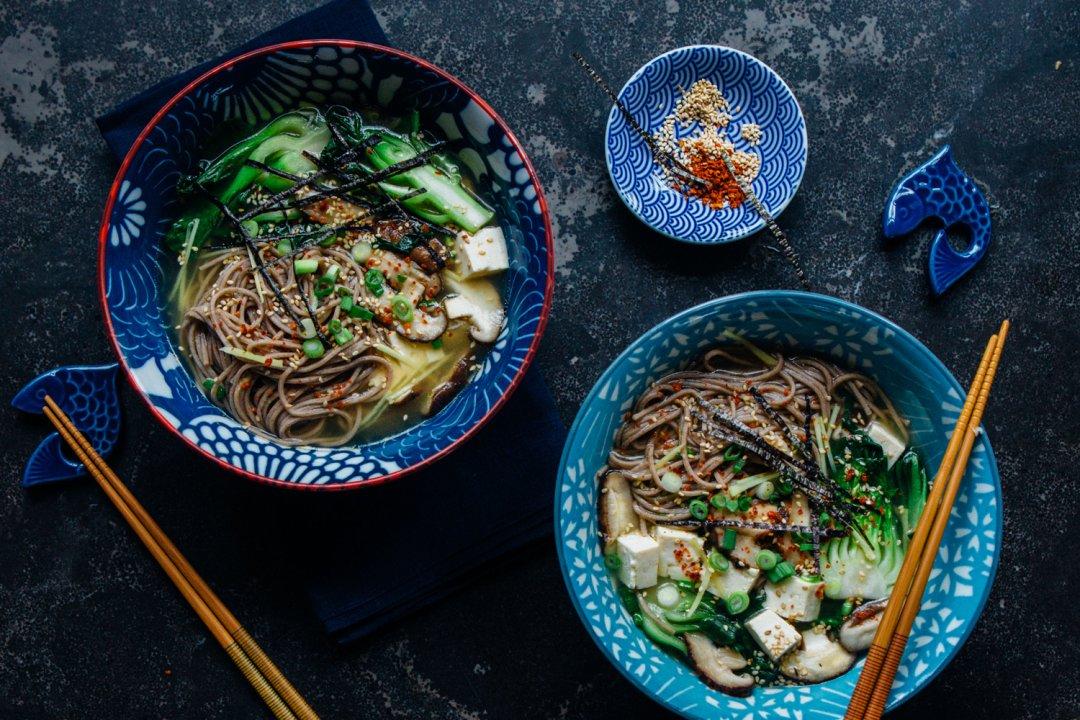 Vegan miso soba noodle soup in noodle bowls