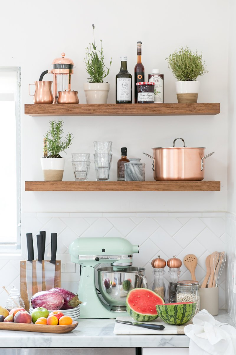 wood copper kitchen accent design | How to Set Up A Kitchen | Crate and Barrel Blog