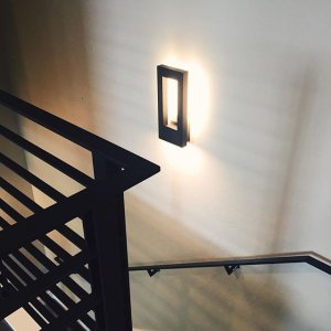 Twilight indooroutdoor led wall sconce by modern forms at lumens the twilight led wall sconces by modern forms lighting up the staircase to the second level mozeypictures Image collections