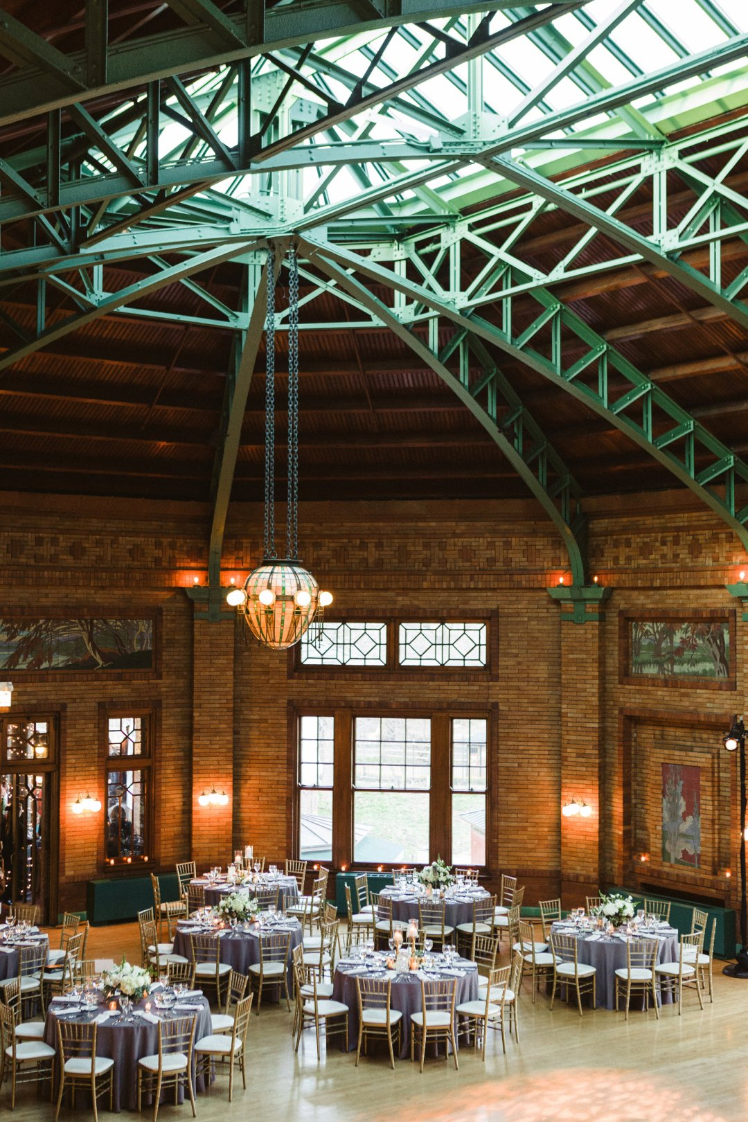 High-ceilinged wedding reception hall