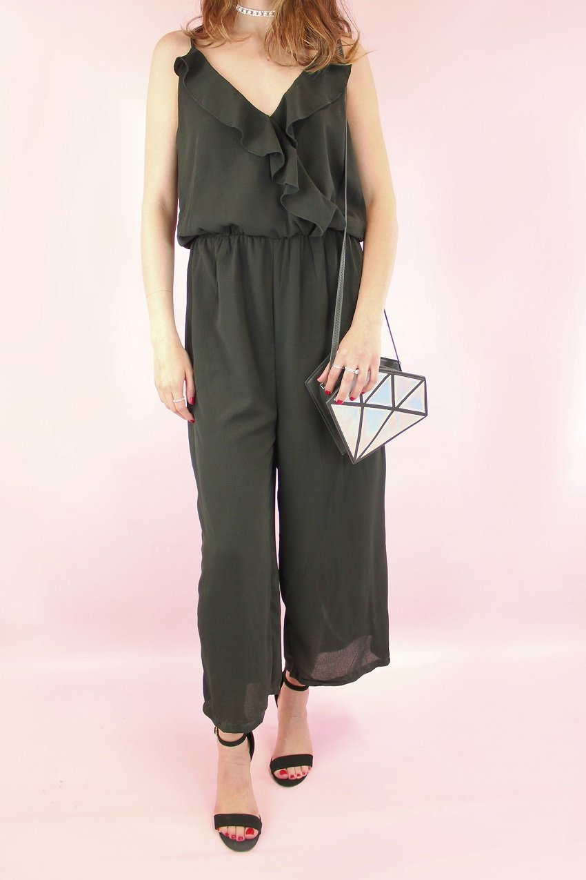 Shop Cropped jumpsuit, Holographic diamond bag, Ankle strap sandals and more